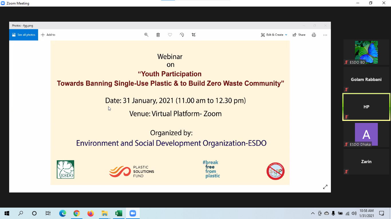 "Webinar on ""Youth Participation towards Single-Used Plastic and to Build Zero Waste Community"""